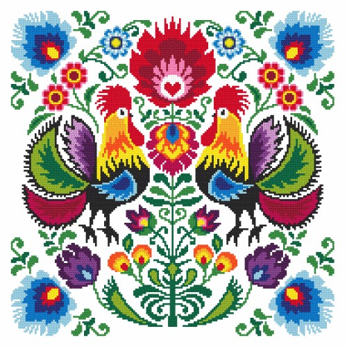 Downloadable PDF Richard The Rainbow Raptor Cross stitch pattern.