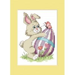 W 8624-01 ONLINE pattern pdf - Easter postcard - Bunny with Easter egg