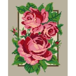 1067 Roses in the panel - Tapestry canvas