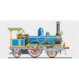 Blue locomotive - Tapestry canvas