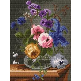 Flowers in a glass vase - Tapestry canvas
