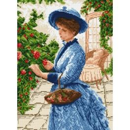 Lady gathering the flowers - Tapestry canvas