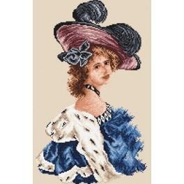 Woman in blue dress - Tapestry canvas