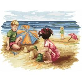 Children on the beach - Tapestry canvas