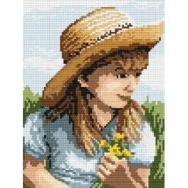 4516 Girl with flowers - B. Sikora-Malyjurek - Tapestry canvas