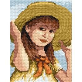 4517 Girl with a ribbon - B. Sikora-Malyjurek - Tapestry canvas