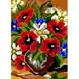 Poppies in the vase - Tapestry canvas