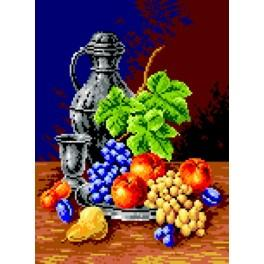 K 563 Drinking-glass and fruit - Tapestry canvas