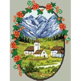 Village in the mountains - Tapestry canvas