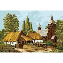 Cottage in autumn - Tapestry canvas