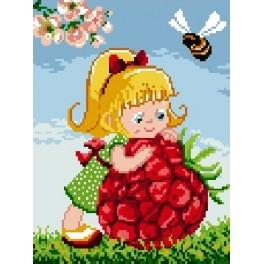 Girl with raspberry - Tapestry canvas