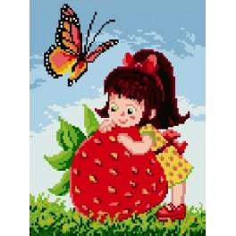 Girl with strawberry - Tapestry canvas
