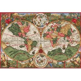 K 33047 Ancient world map - Tapestry canvas