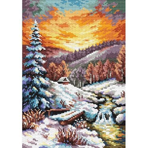 S Sikora Winter Evening Glow Tapestry Canvas Coricamo
