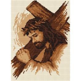 Jesus with the cross - B. Sikora-Malyjurek - Tapestry canvas