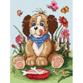 Puppy with a bowl - Tapestry canvas