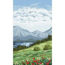 K 4900 Triptych – Mountain lake - Tapestry canvas