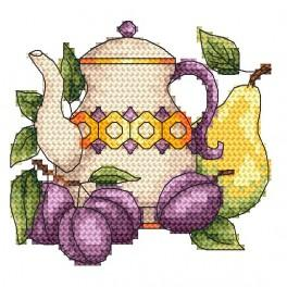 Jug with plums - Tapestry canvas