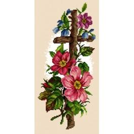 Cross with flowers - Tapestry canvas