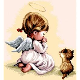 K 7177 Prayer - Girl with the cat - Tapestry canvas