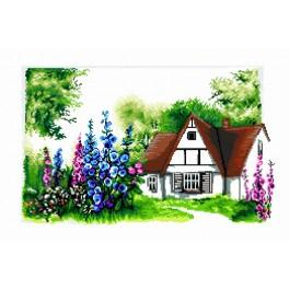 Cottage with mallows - Tapestry canvas