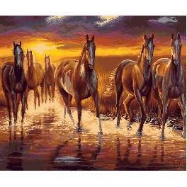 K 7265 Sunset - horses - Tapestry canvas