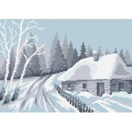 Snow-covered hut - Tapestry canvas