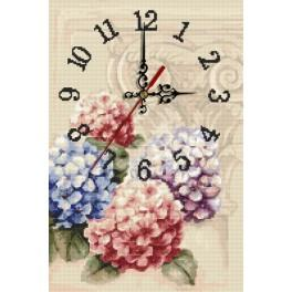 W 10056 Online pattern - Clock with hydrangeas