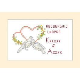 W 2102 Online pattern - Wedding Card - Two doves