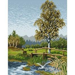 Online pattern - Bridge on the meadow