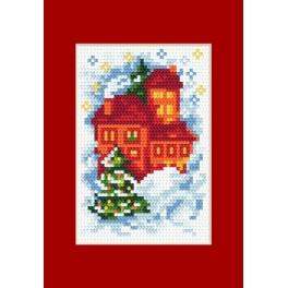 Online pattern - Christmas card- Houses - B. Sikora-Małyjurek