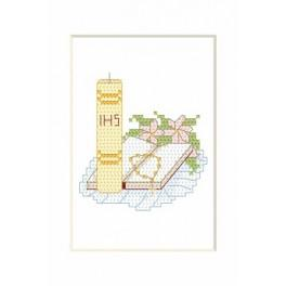 Online pattern - Holy communion card - Candle with a book