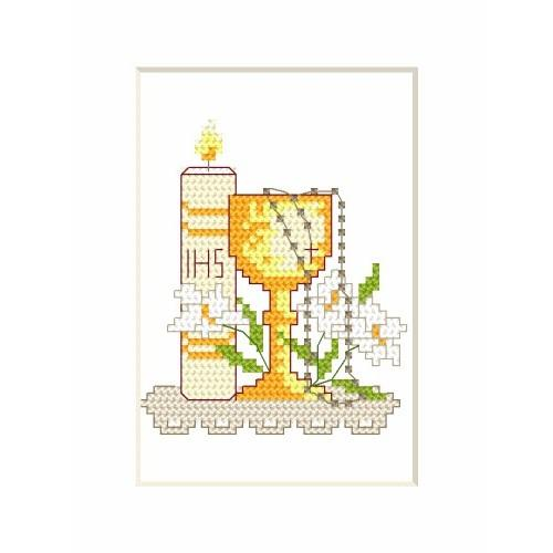 Online pattern - Holy communion card - candle and cup