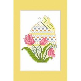 Online pattern - Easter postcard - Easter egg with tulips