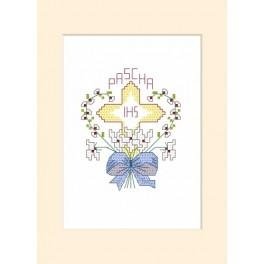 Online pattern - Easter postcard - Cross in a heart