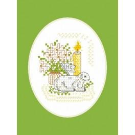 Online pattern - Easter postcard - Lamb with a flag