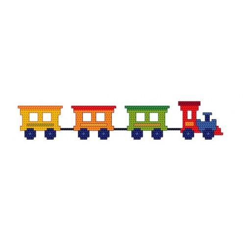 W 4426 Online pattern - Bib with train