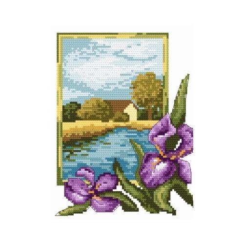 Online pattern - Landscape with Iris - B. Sikora-Malyjurek