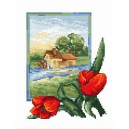 Online pattern - Landscape with tulips - B. Sikora-Malyjurek