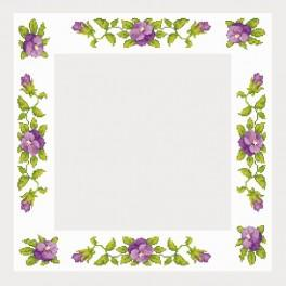 W 4666 Online pattern - Table-cloth with pansies