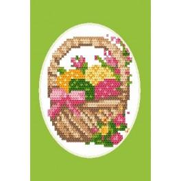 Online pattern - Easter postcard - Basket with Easter eggs
