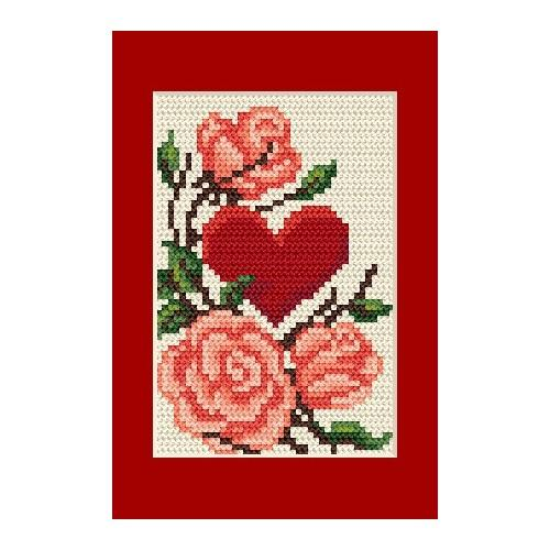 Online pattern - Occasional card - Heart with roses