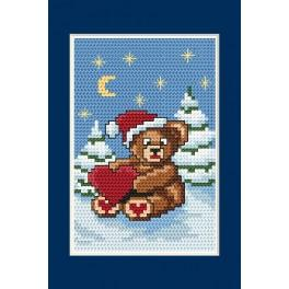 Online pattern - Christmas card - Teddy bear
