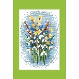 Online pattern - Easter postcard - Snowdrops