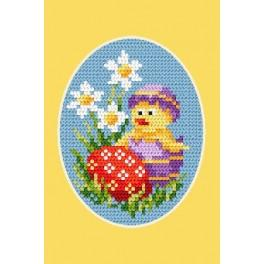 Online pattern - Easter postcard - Chicken and Easter egg