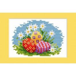 Online pattern - Easter postcard - Colourfull Easter eggs