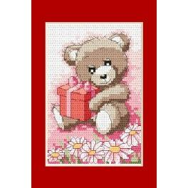 Online pattern - Birthday card- Teddy-bear with a gift