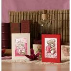 W 4832-01 Online pattern - Birthday card- Teddy-bear with a gift