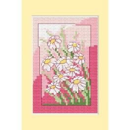 W 4832-02 Online pattern - Birthday card- White flowers