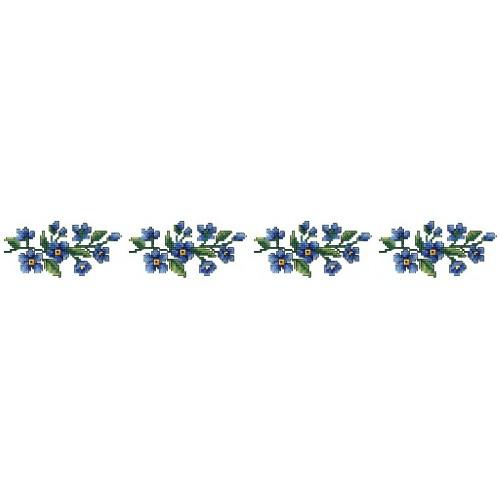 W 4841 Online pattern - Towel with blue flowers